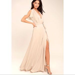LULUS CITY OF STARS NUDE MAXI DRESS